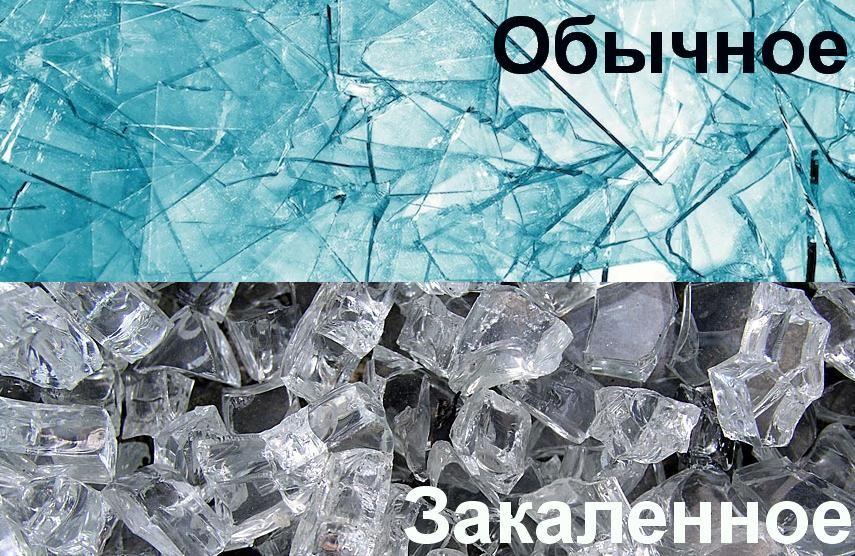 Разница обычного от закаленного стекла