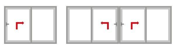 Схемы открывания створок дверей